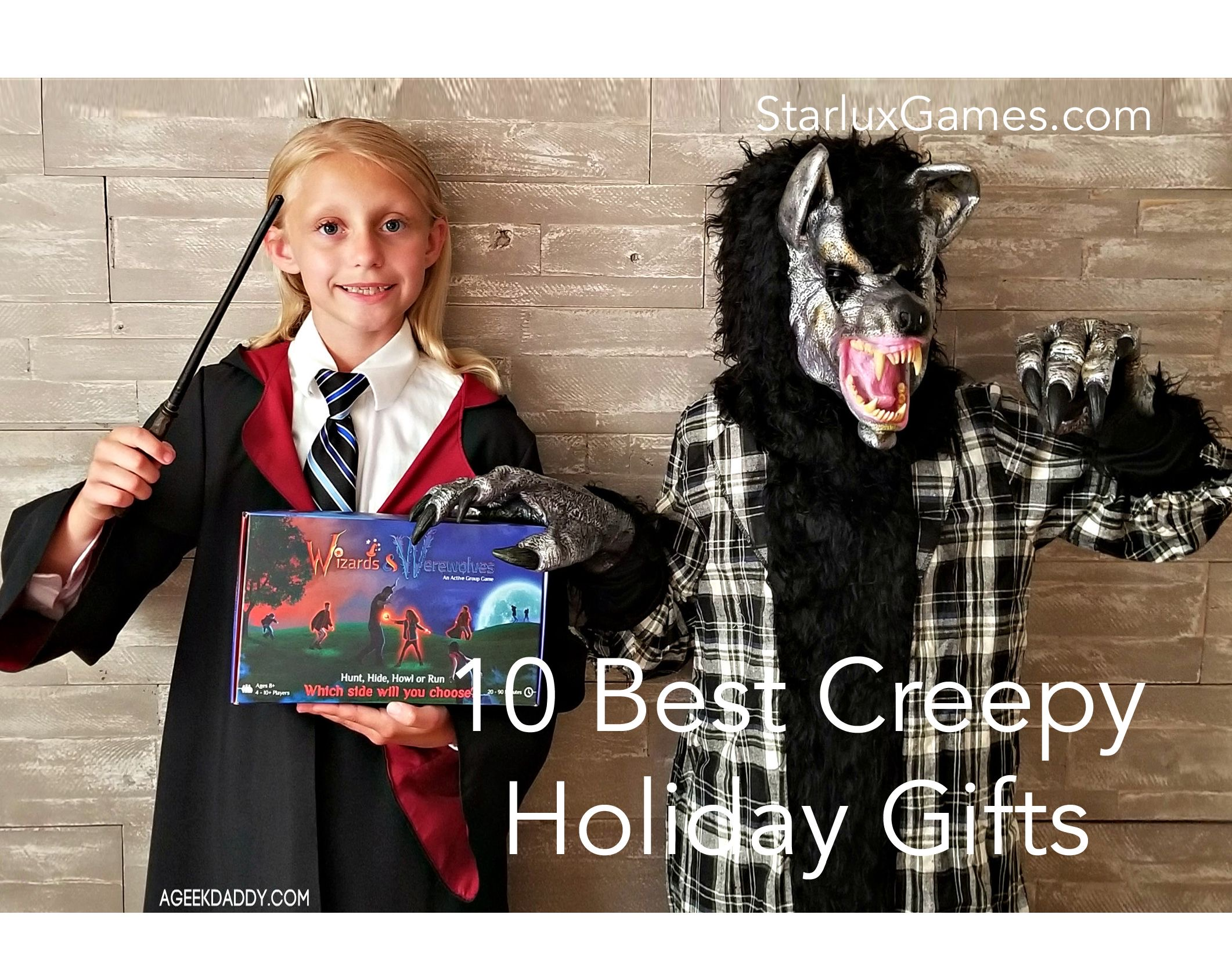 Two kids hold Wizards & Werewolves, one of the featured creepy holiday gifts.