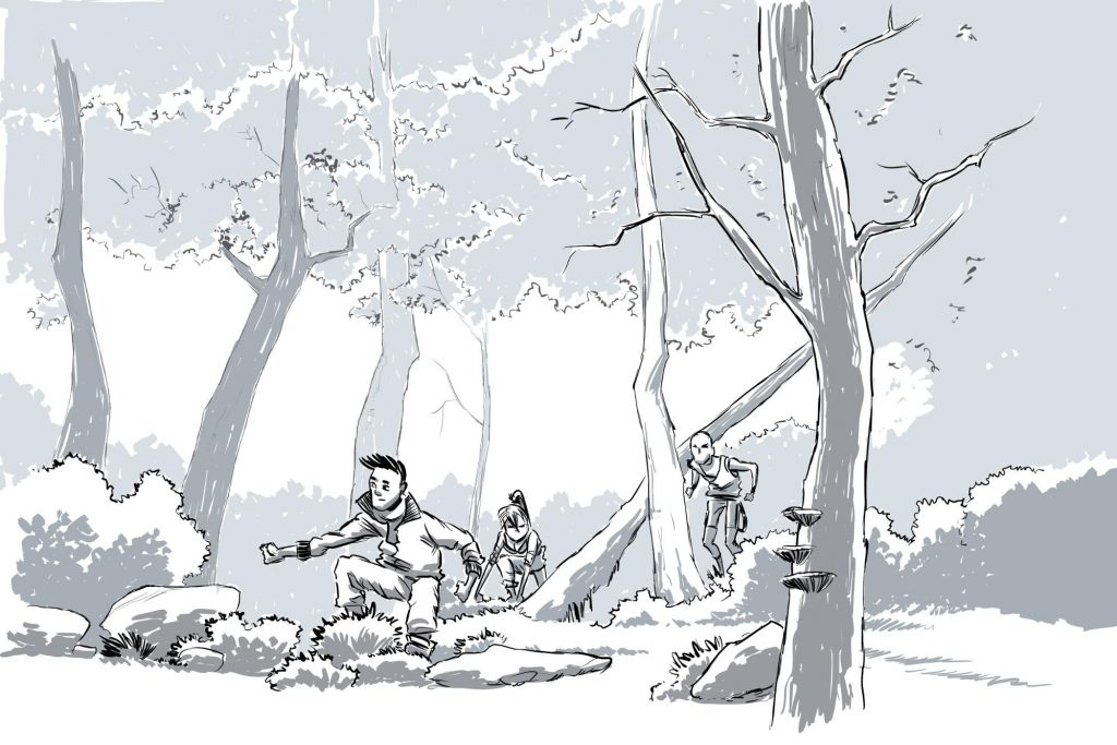 A drawing of people playing in the forest.