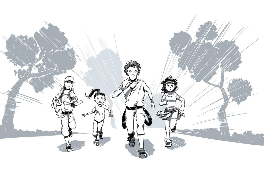 A drawing of four kids running.