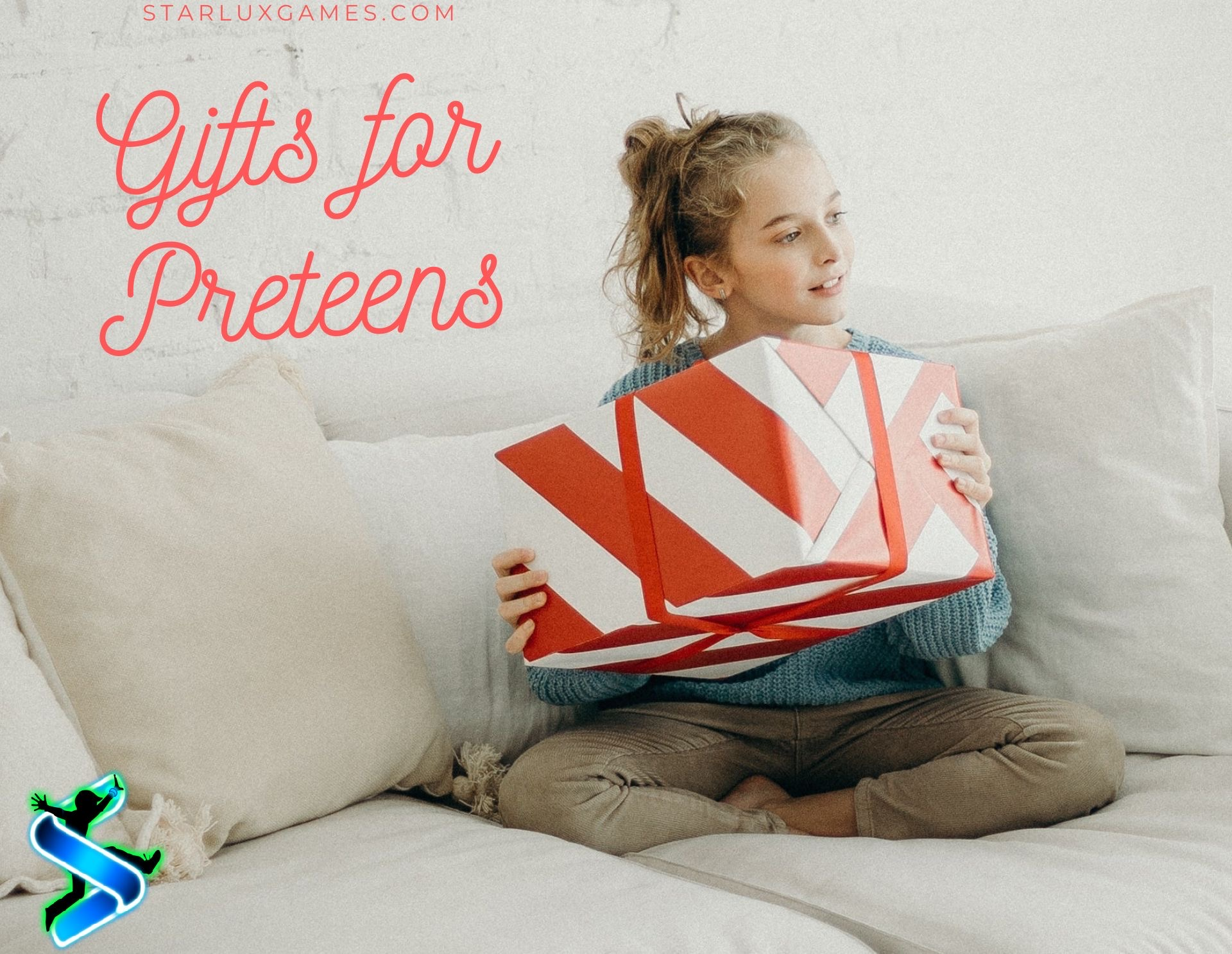 A preteen sits on a couch with a wrapped present in her lap.
