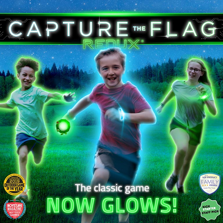 The cover image of Capture the Flag REDUX shows three kids running with orbs and glow-in-the-dark bracelets.
