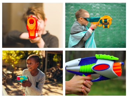 Four small photos each show a different kid playing with a different nerf gun.
