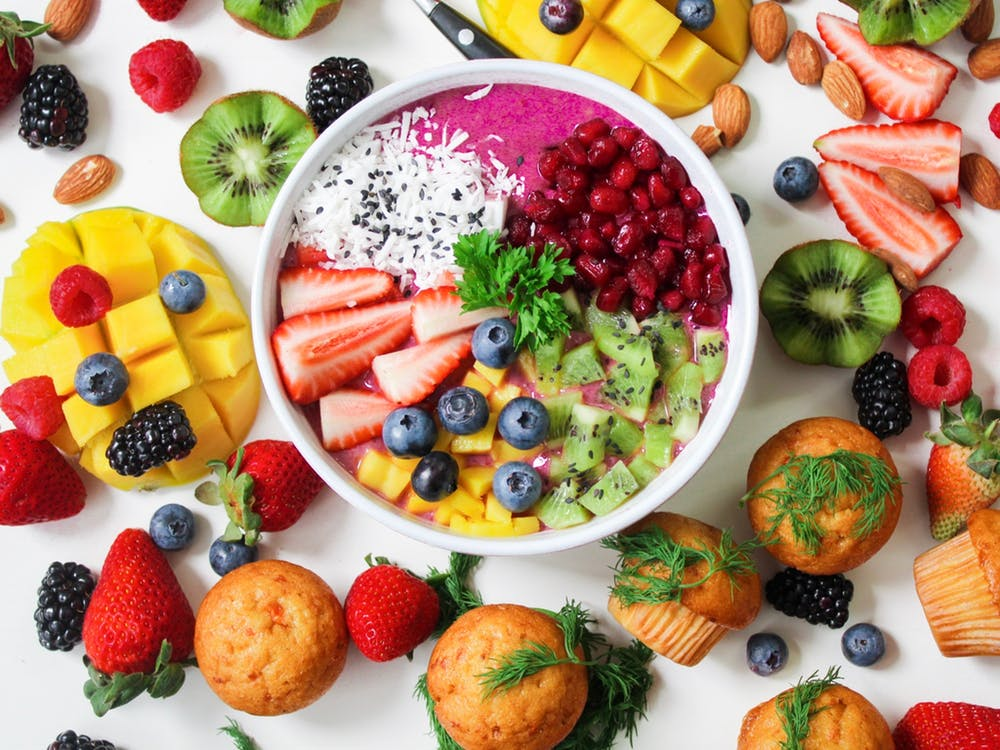 A variety of colorful, healthy foods.