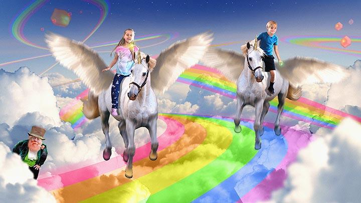 Fantasy landscape with kids riding pegasus