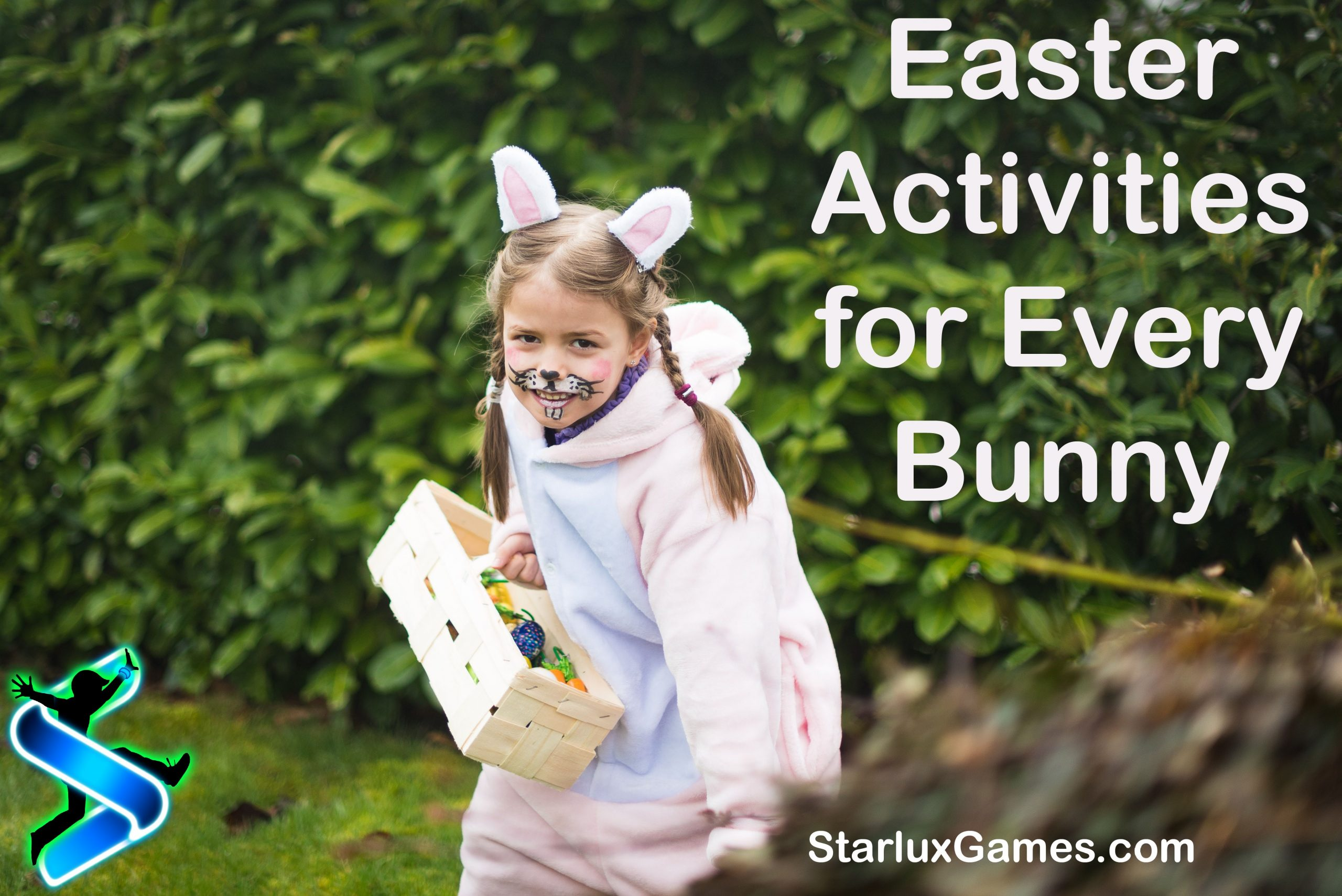 A girl dressed as the Easter bunny smiles mischievously at the camera while holding an Easter basket.