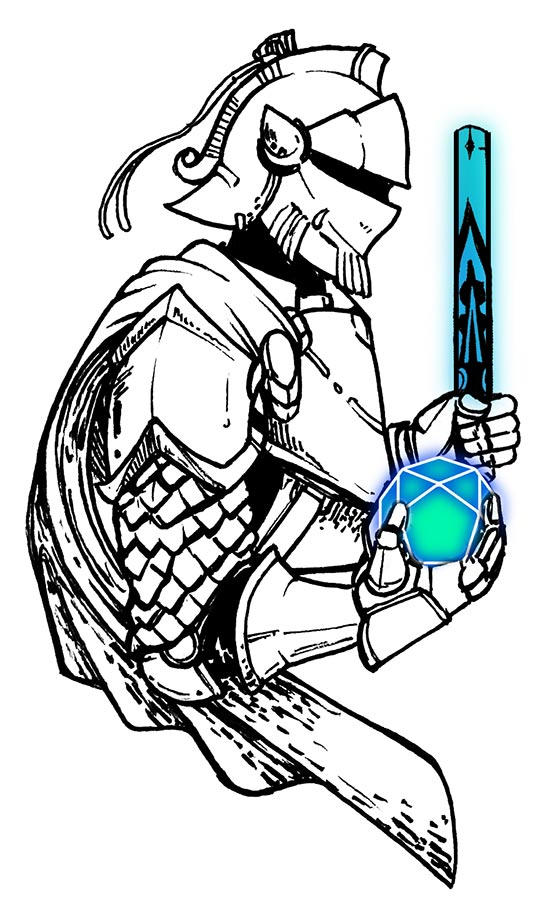 Tattoo style image of knight holding orb with sword