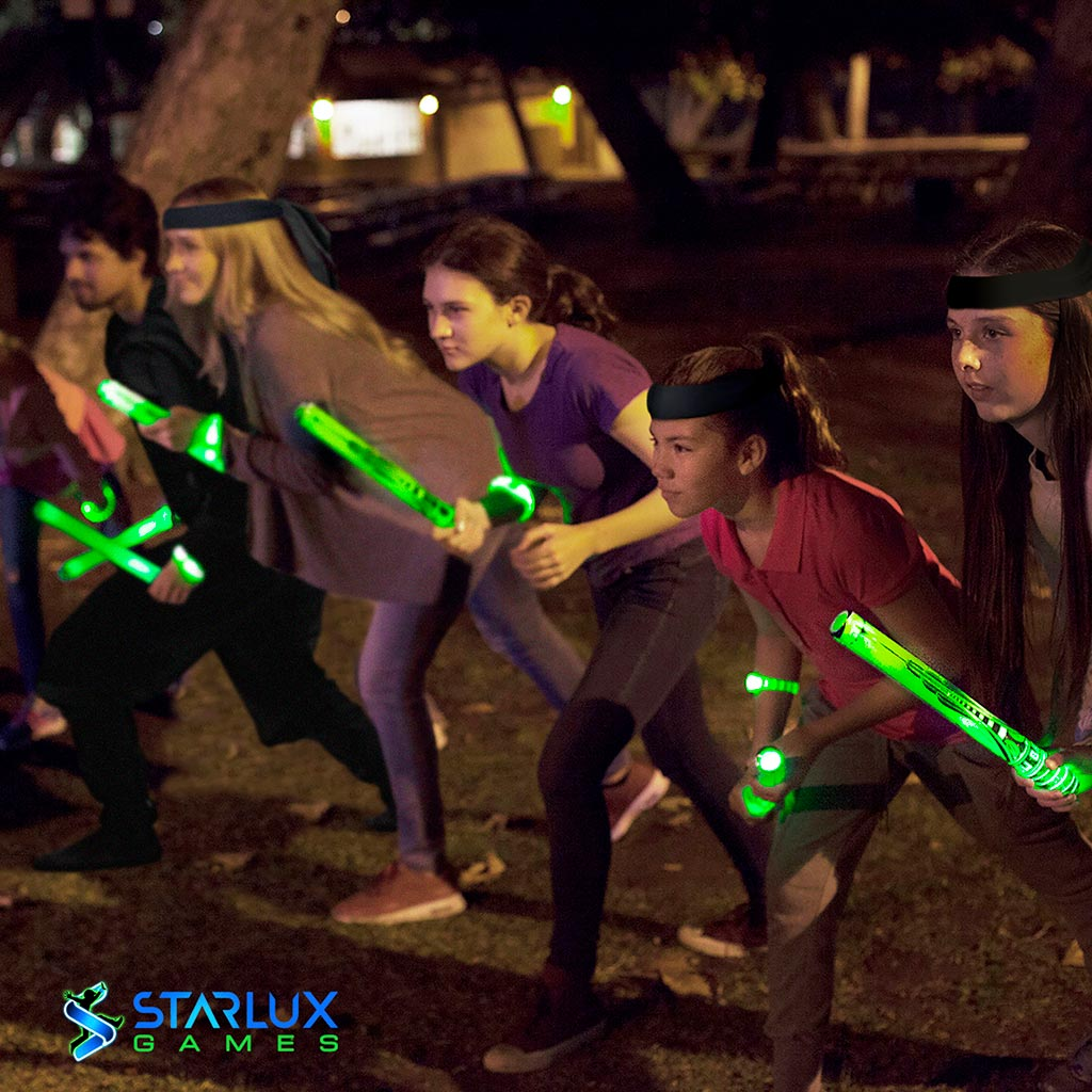 Kids playing glow battle