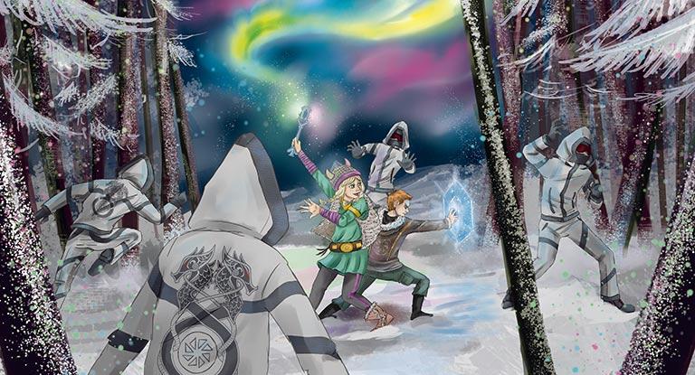 Illustration of kids playing viking game